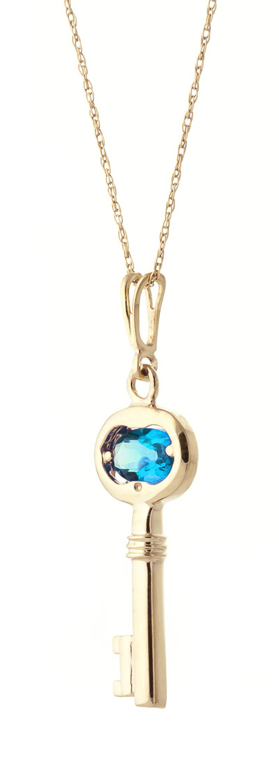 Blue Topaz Key Charm Pendant Necklace 0.5ct in 9ct Gold