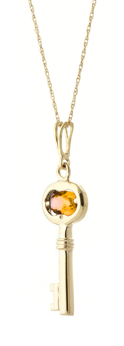 Citrine Key Charm Pendant Necklace 0.5ct in 9ct Gold