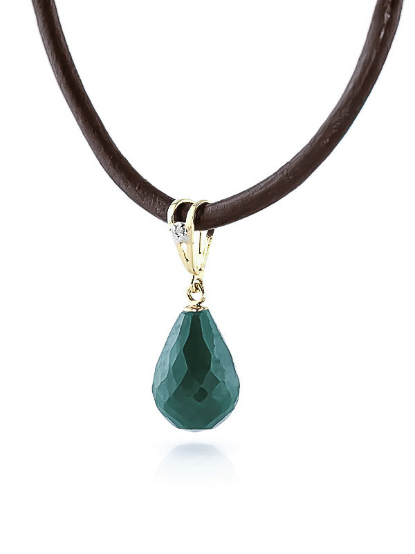 Emerald and Diamond Leather Pendant Necklace 15.5ct in 14K Gold