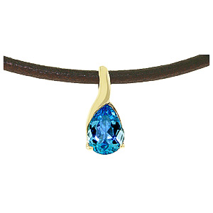 Pear Cut Blue Topaz Leather Pendant Necklace 4.7ct in 14K Gold