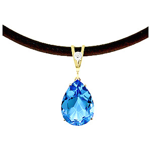Blue Topaz and Diamond Leather Pendant Necklace 6.0ct in 9ct Gold