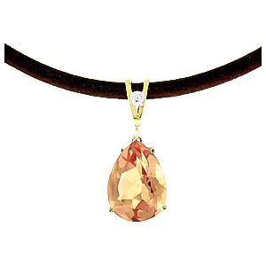 Citrine and Diamond Leather Pendant Necklace 6.0ct in 9ct Gold