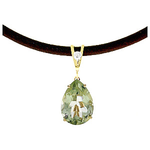 Green Amethyst and Diamond Leather Pendant Necklace 6.0ct in 14K Gold