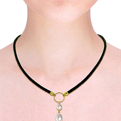Pearl Briolette Leather Pendant Necklace 6.0ctw in 14K Gold