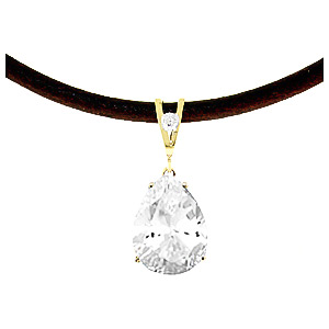 White Topaz and Diamond Leather Pendant Necklace 6.0ct in 9ct Gold