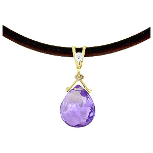 Amethyst and Diamond Leather Pendant Necklace 6.5ct in 9ct Gold