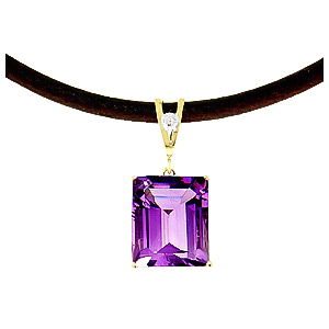 Amethyst and Diamond Leather Pendant Necklace 6.5ct in 14K Gold