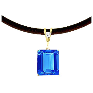 Blue Topaz and Diamond Leather Pendant Necklace 6.5ct in 14K Gold
