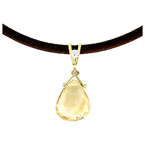Citrine and Diamond Leather Pendant Necklace 6.5ct in 9ct Gold