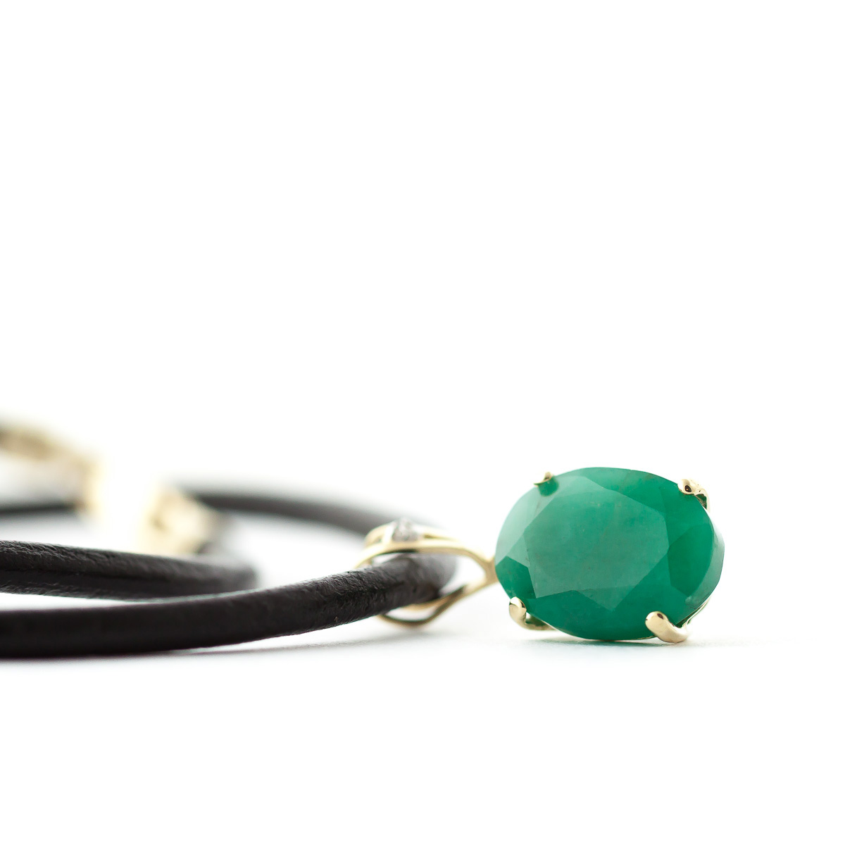 Emerald and Diamond Leather Pendant Necklace 6.5ct in 9ct Gold