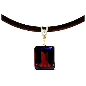 Garnet and Diamond Leather Pendant Necklace 6.5ct in 9ct Gold