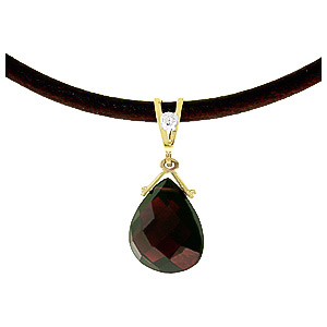 Garnet and Diamond Leather Pendant Necklace 6.5ct in 14K Gold