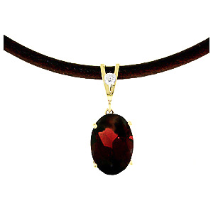Garnet and Diamond Leather Pendant Necklace 7.55ct in 9ct Gold