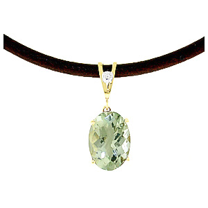 Green Amethyst and Diamond Leather Pendant Necklace 7.55ct in 9ct Gold