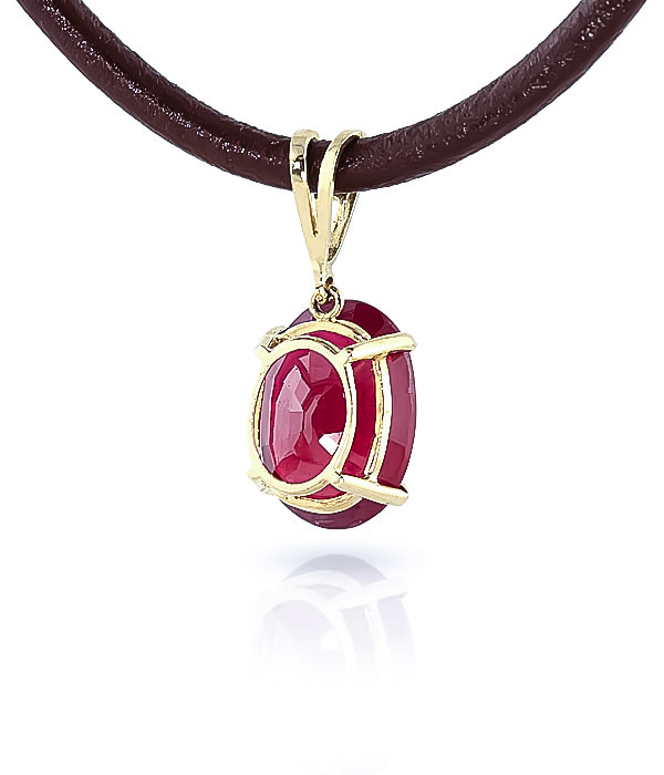 Ruby and Diamond Leather Pendant Necklace 7.7ct in 9ct Gold