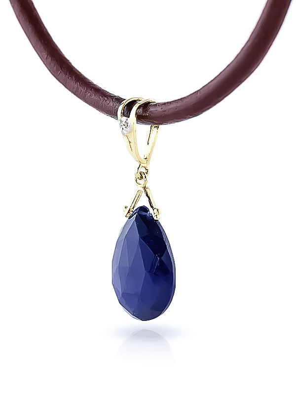 Sapphire and Diamond Leather Pendant Necklace 7.8ct in 9ct Gold