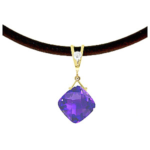 Amethyst and Diamond Leather Pendant Necklace 8.75ct in 9ct Gold