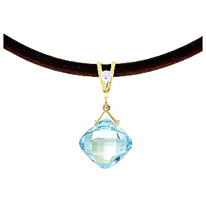 Blue Topaz and Diamond Leather Pendant Necklace 8.75ct in 14K Gold