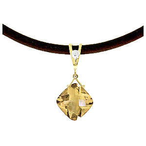 Citrine and Diamond Leather Pendant Necklace 8.75ct in 9ct Gold
