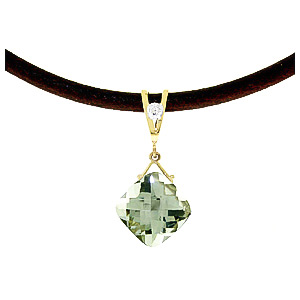 Green Amethyst and Diamond Leather Pendant Necklace 8.75ct in 9ct Gold