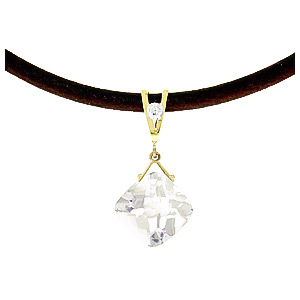 White Topaz and Diamond Leather Pendant Necklace 8.75ct in 9ct Gold