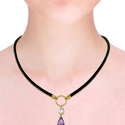 Amethyst and Pearl Leather Pendant Necklace 7.5ctw in 14K Gold