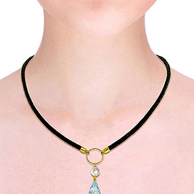 Blue Topaz and Pearl Leather Pendant Necklace 9.0ctw in 14K Gold