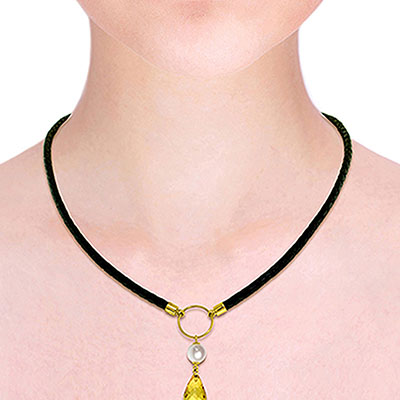 Citrine and Pearl Leather Pendant Necklace 7.5ctw in 9ct Gold