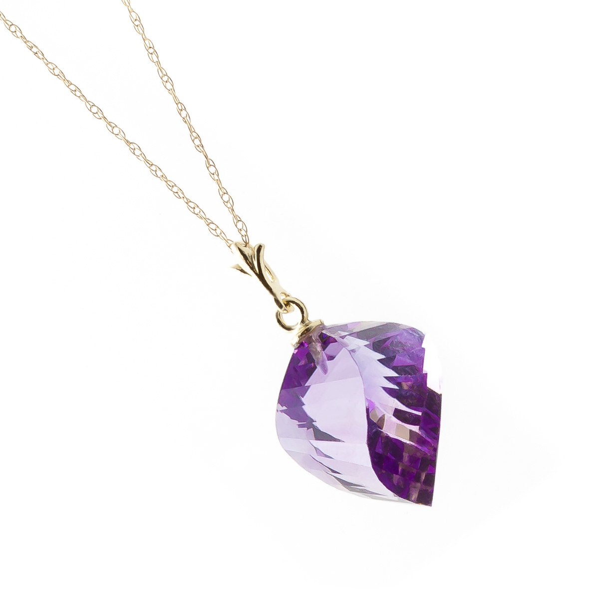 Amethyst Briolette Pendant Necklace 10.75ct in 9ct Gold
