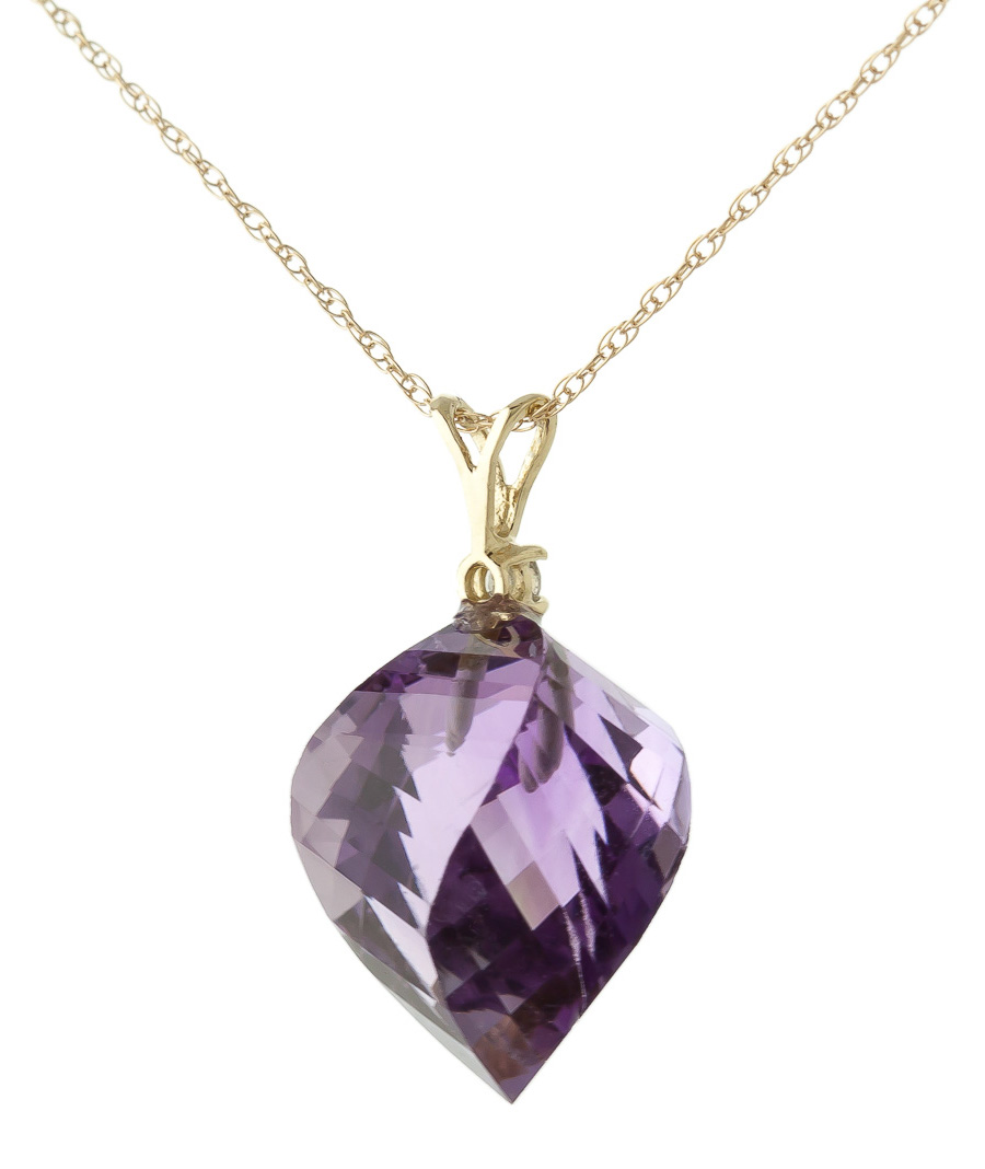 Amethyst and Diamond Pendant Necklace 10.75ct in 9ct Gold ...