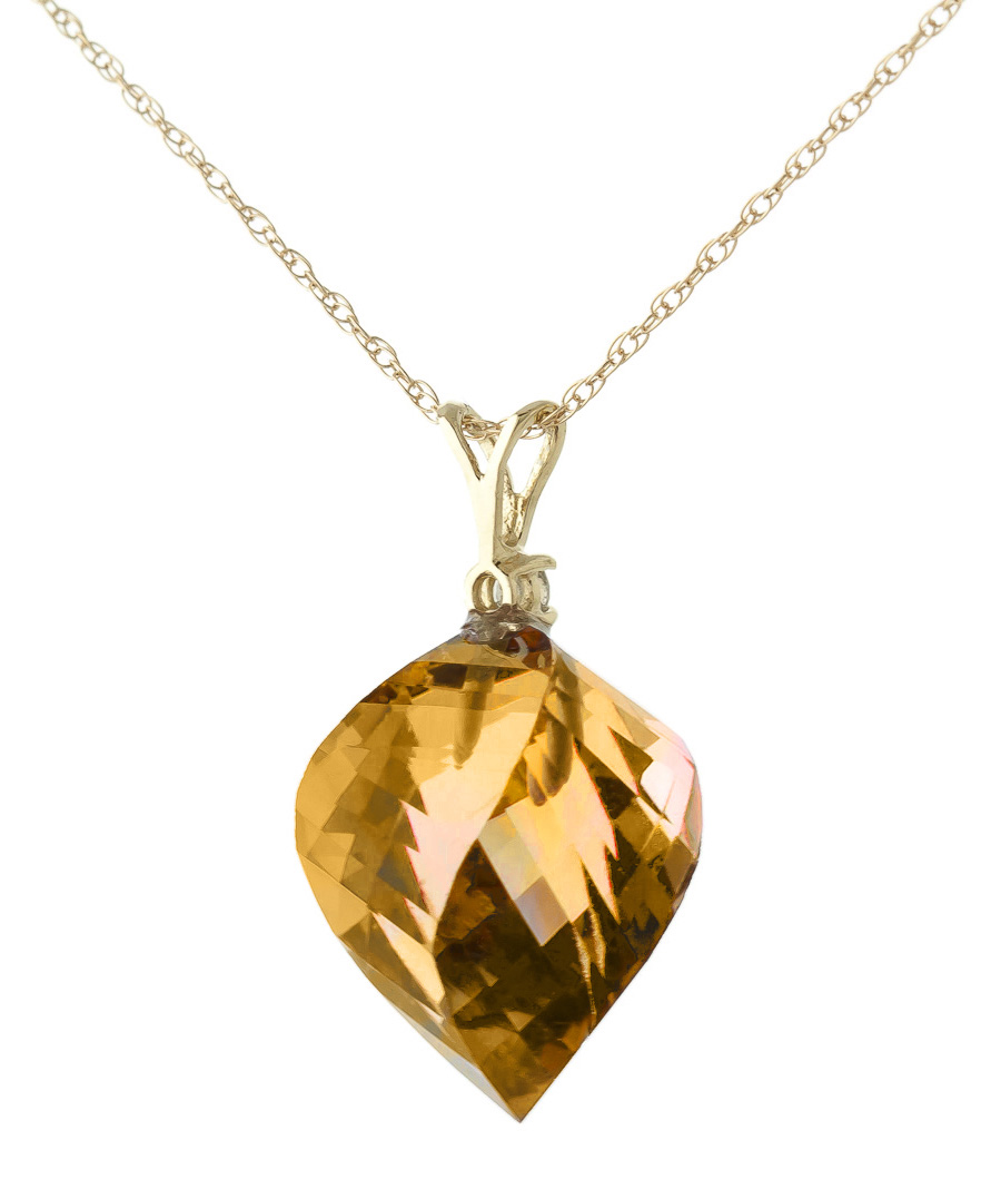 citrine and diamond pendant necklace 1175ct in 9ct gold