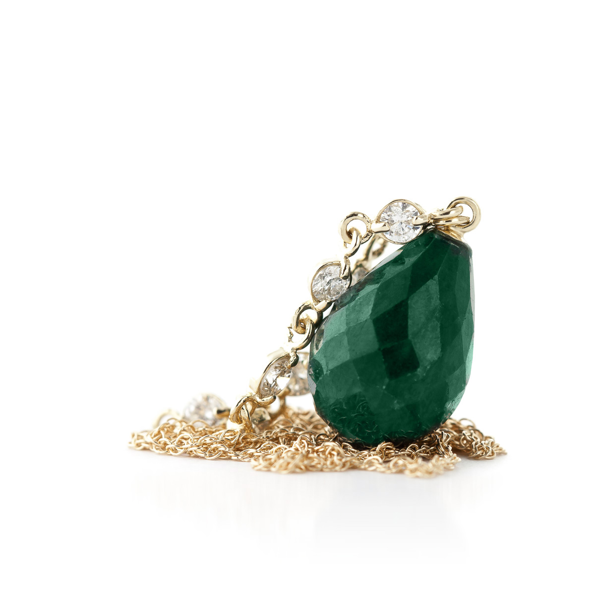 Emerald and Diamond Pendant Necklace 14.8ct in 14K Gold