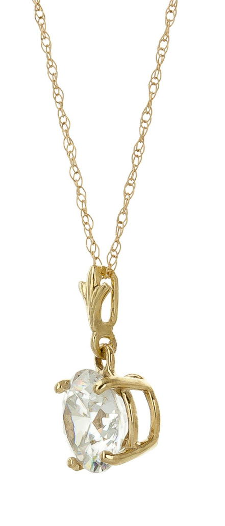 Round Brilliant Cut Cubic Zirconia Pendant Necklace 2.38ct in 9ct Gold