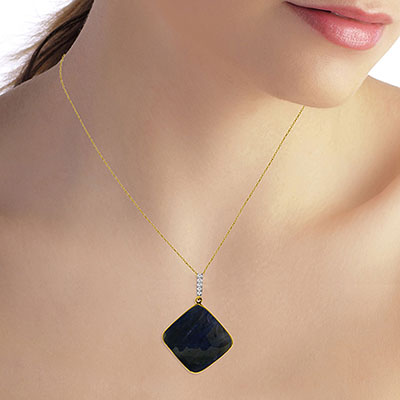 Sapphire and Diamond Pendant Necklace 21.75ct in 14K Gold