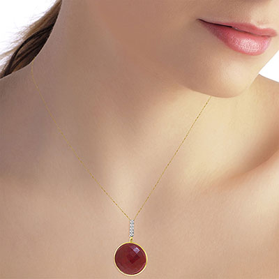 Ruby and Diamond Pendant Necklace 23.0ct in 14K Gold