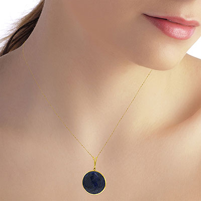 Round Brilliant Cut Sapphire Pendant Necklace 23.0ctw in 14K Gold