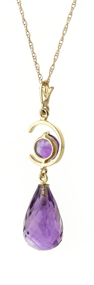 Amethyst Briolette Pendant Necklace 5.5ctw in 14K Gold