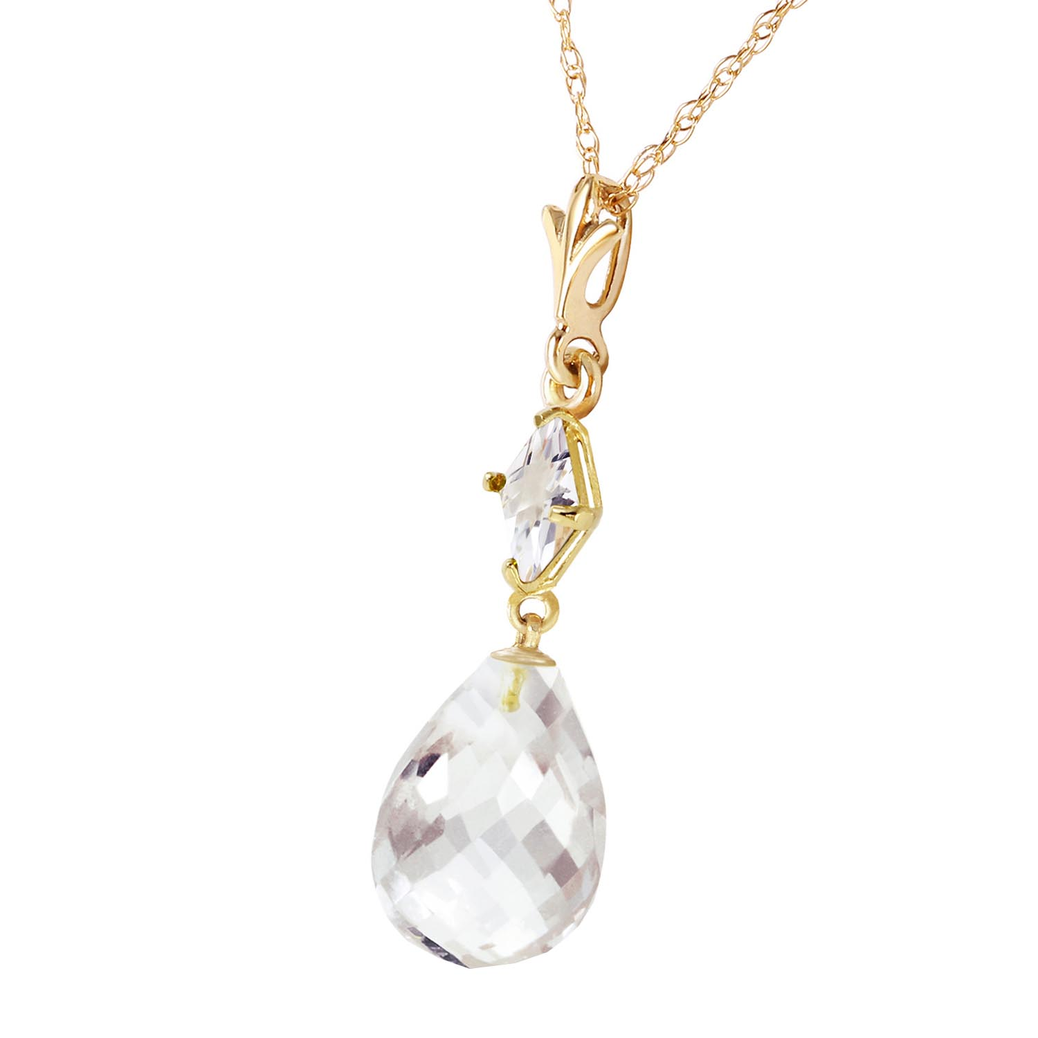 White Topaz Briolette Pendant Necklace 5.5ctw in 14K Gold