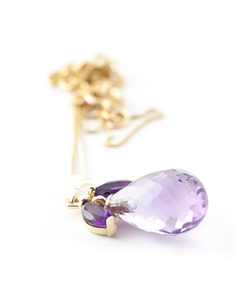 Amethyst Briolette Pendant Necklace 7.2ctw in 9ct Gold