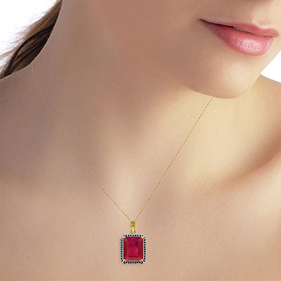 Ruby and Diamond Halo Pendant Necklace 7.25ct in 14K Gold
