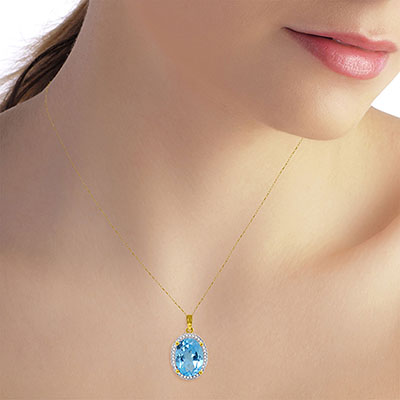 Blue Topaz and Diamond Halo Pendant Necklace 7.4ct in 14K Gold