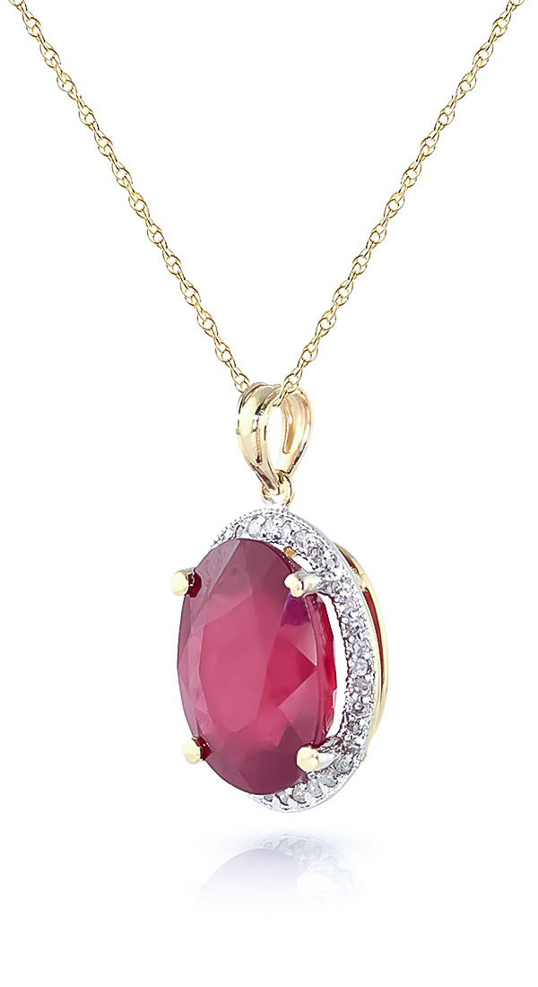 Ruby and Diamond Halo Pendant Necklace 7.75ct in 14K Gold
