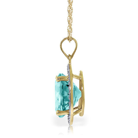 Blue Topaz and Diamond Halo Pendant Necklace 7.8ct in 14K Gold