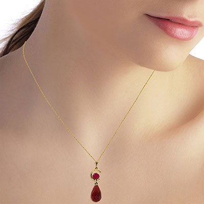Ruby Briolette Pendant Necklace 9.3ctw in 14K Gold