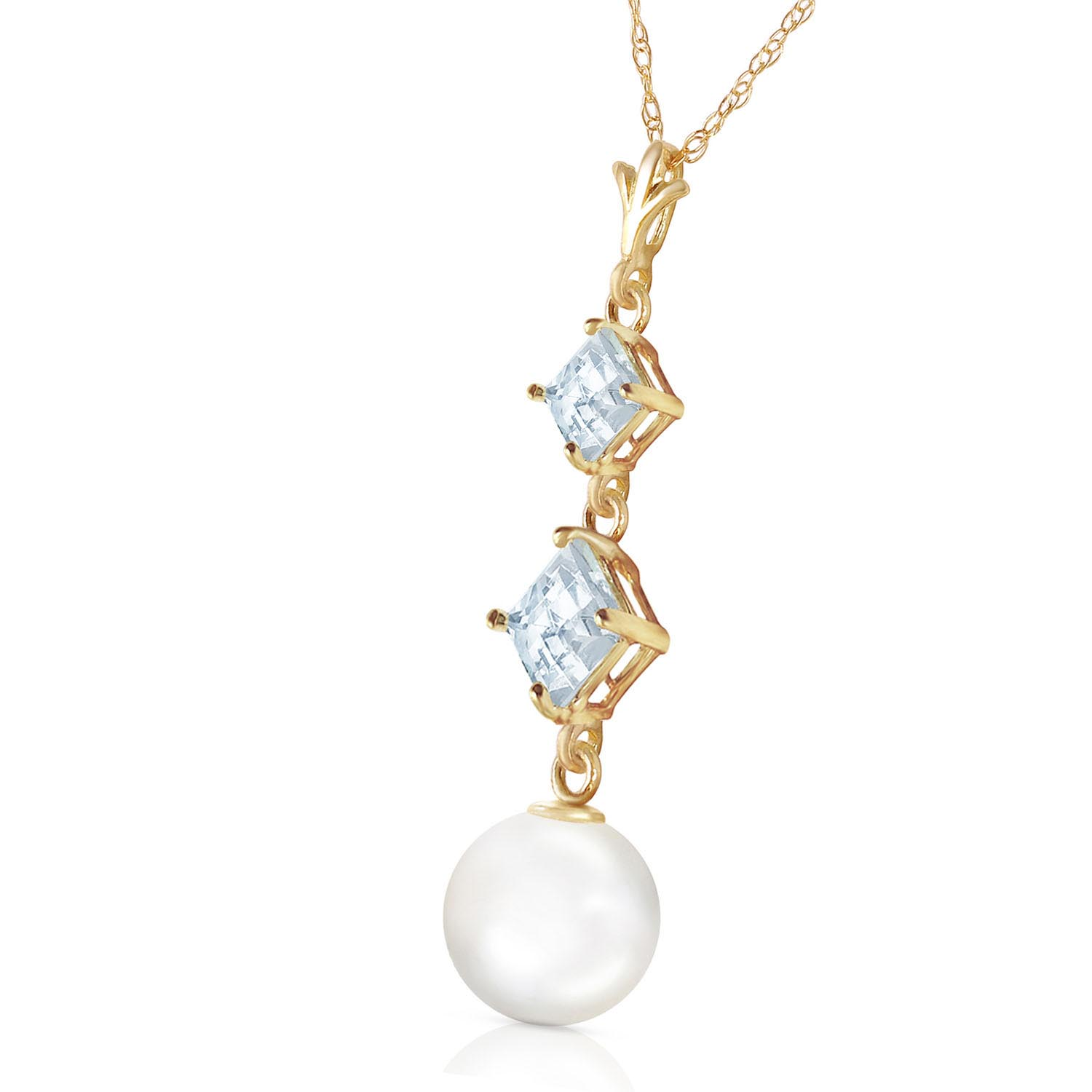 Pearl and Aquamarine Pendant Necklace 3.25ctw in 9ct Gold