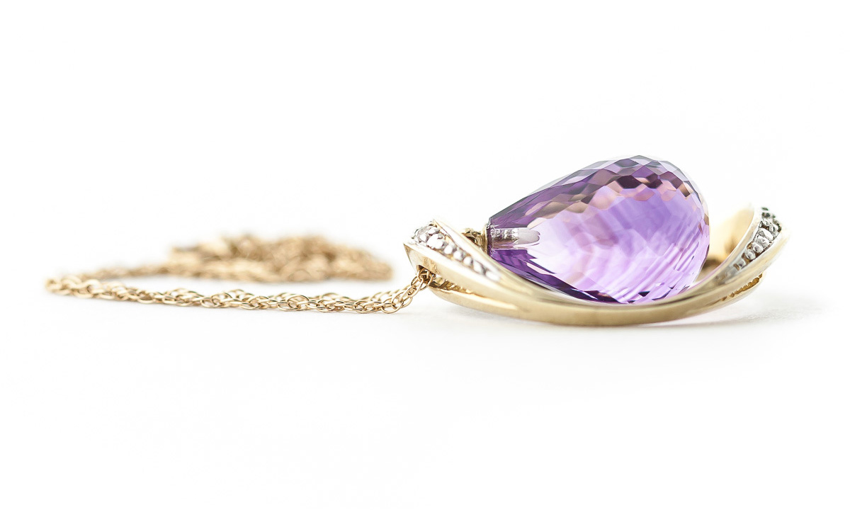 Amethyst and Diamond Pendant Necklace 9.5ct in 9ct Gold