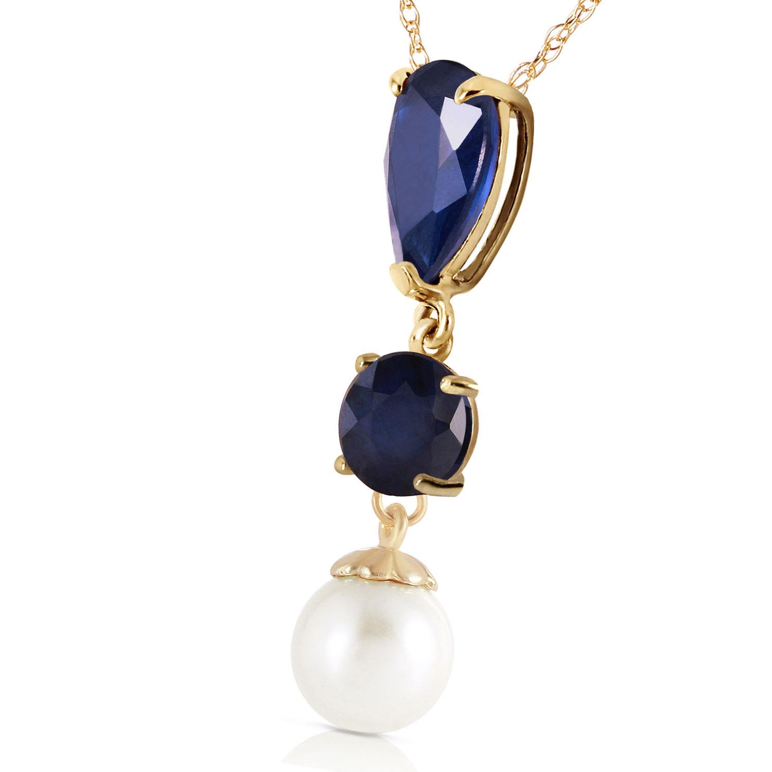 Sapphire and Pearl Pendant Necklace 5.05ctw in 9ct Gold
