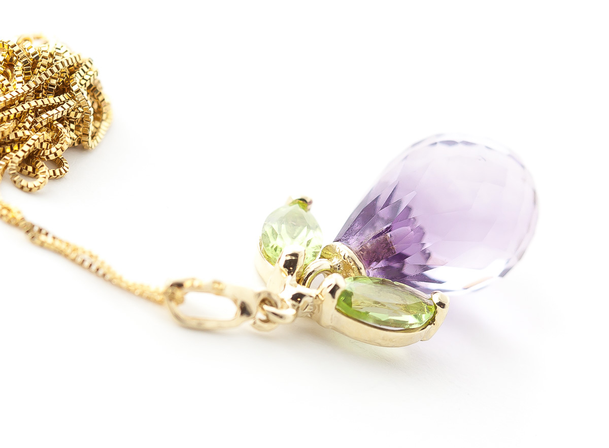 Amethyst and Peridot Pendant Necklace 7.2ctw in 9ct Gold