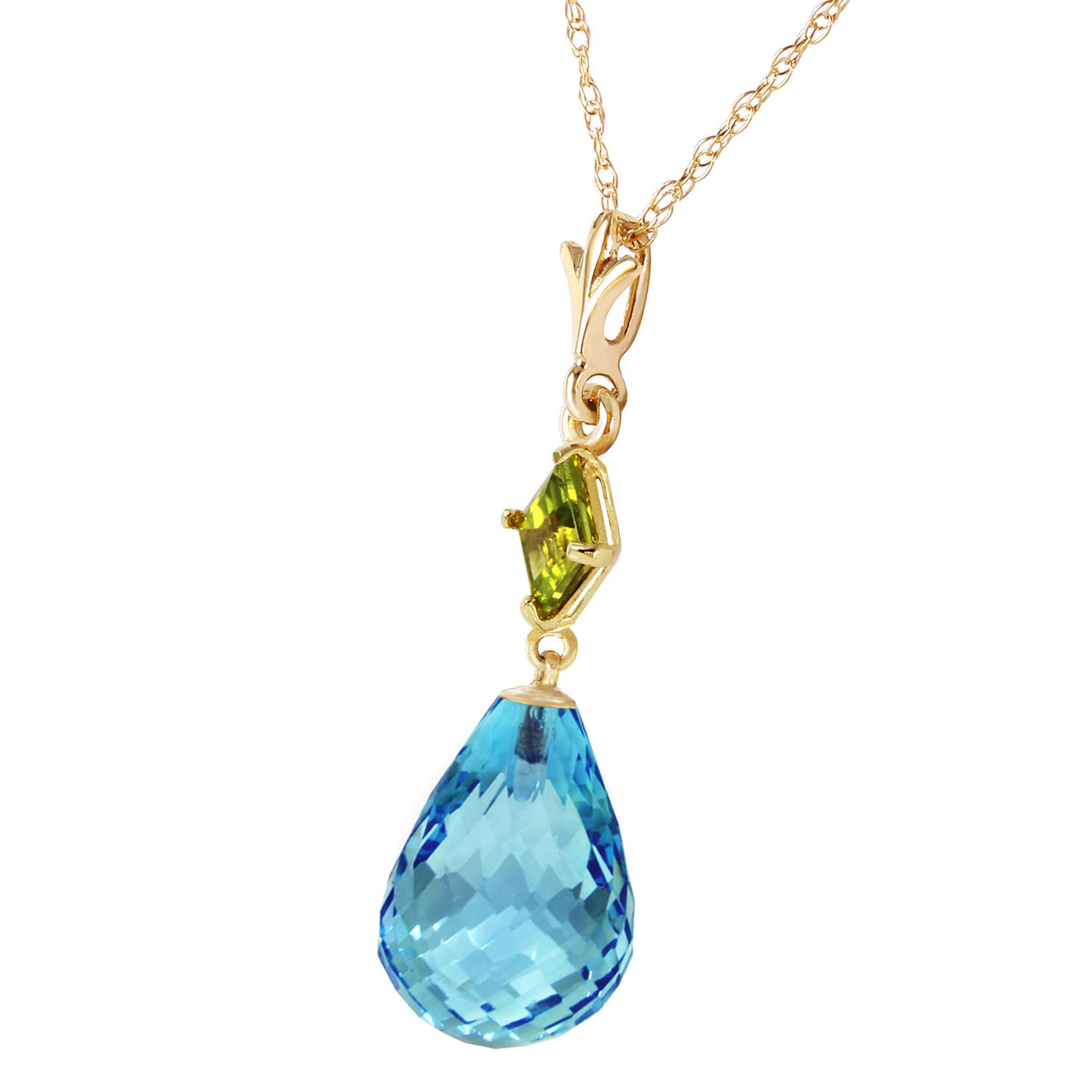 Blue Topaz and Peridot Pendant Necklace 5.5ctw in 14K Gold