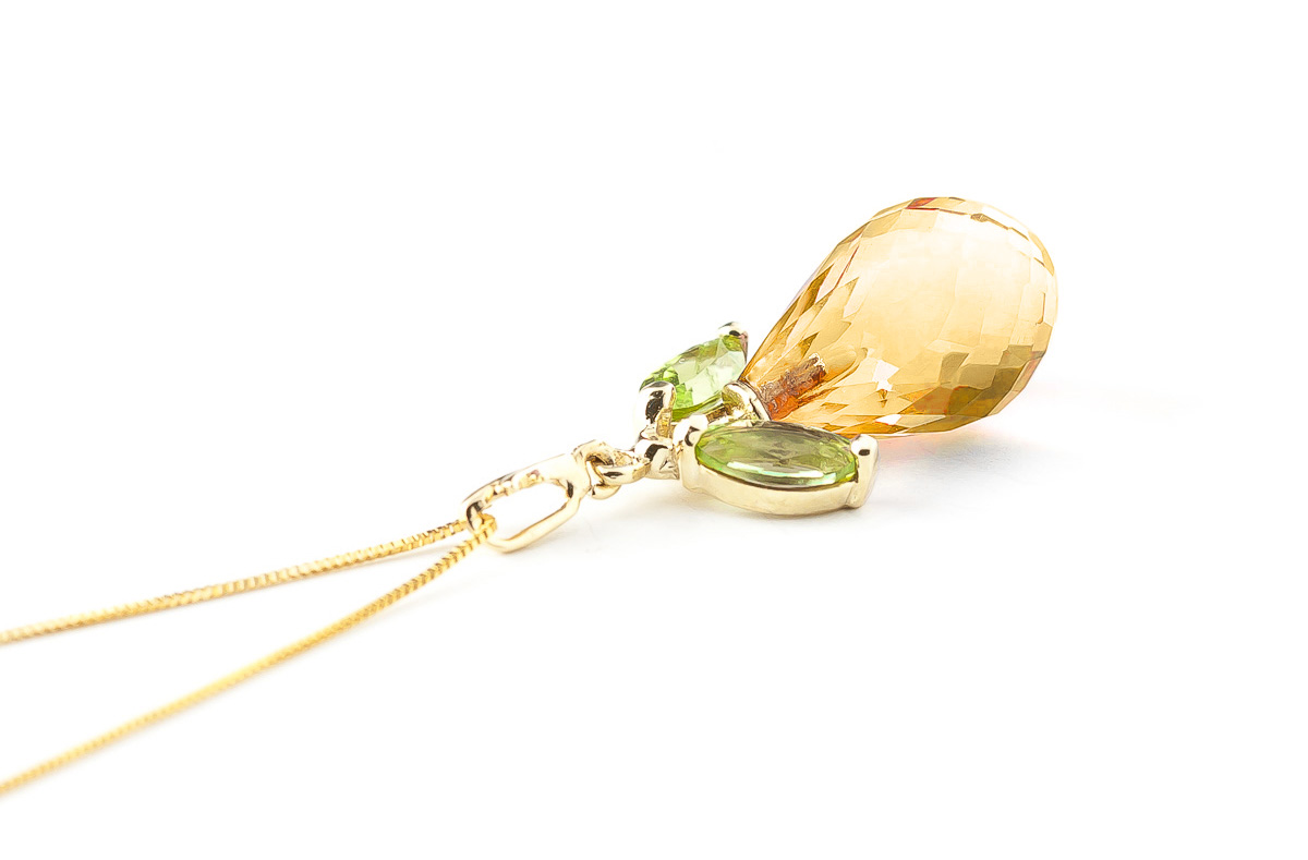 Citrine and Peridot Pendant Necklace 7.2ctw in 9ct Gold